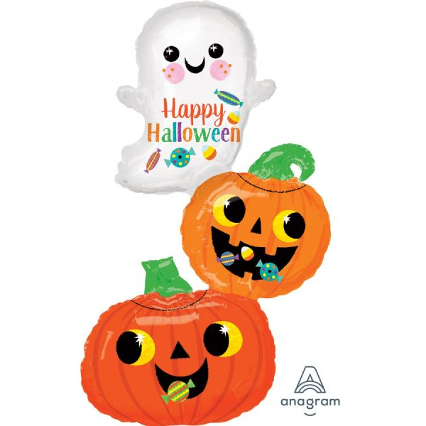 Ghost & Pumpkins Stack SuperShape Foil Balloon